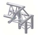 Alur Solutions 3-vägs hörn 90º höger spets uppåt - KN-22 - 3-punktstross - utmärkt tross system för mässmonter applikationer och butiks installationer